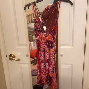 Fun tribal print plunging dress